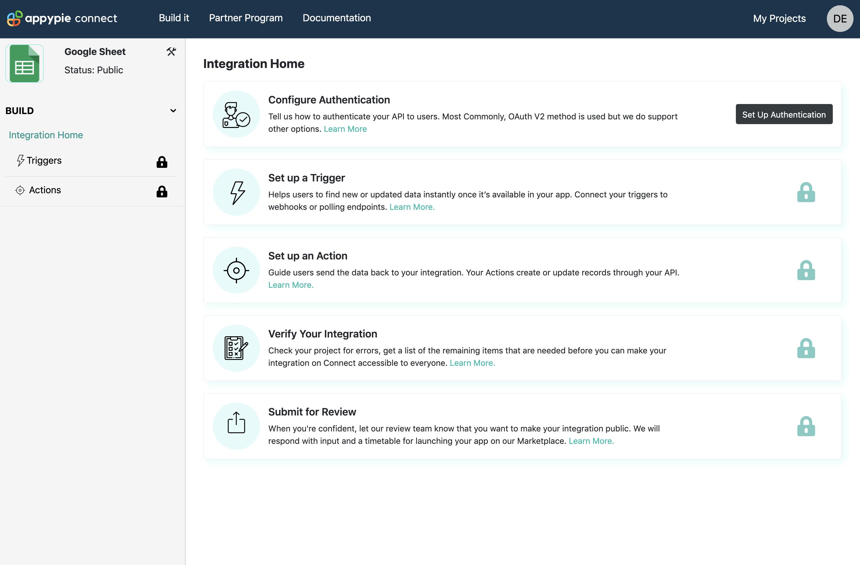 Integration home page Appy Pie Connect developer   AUTOMATION