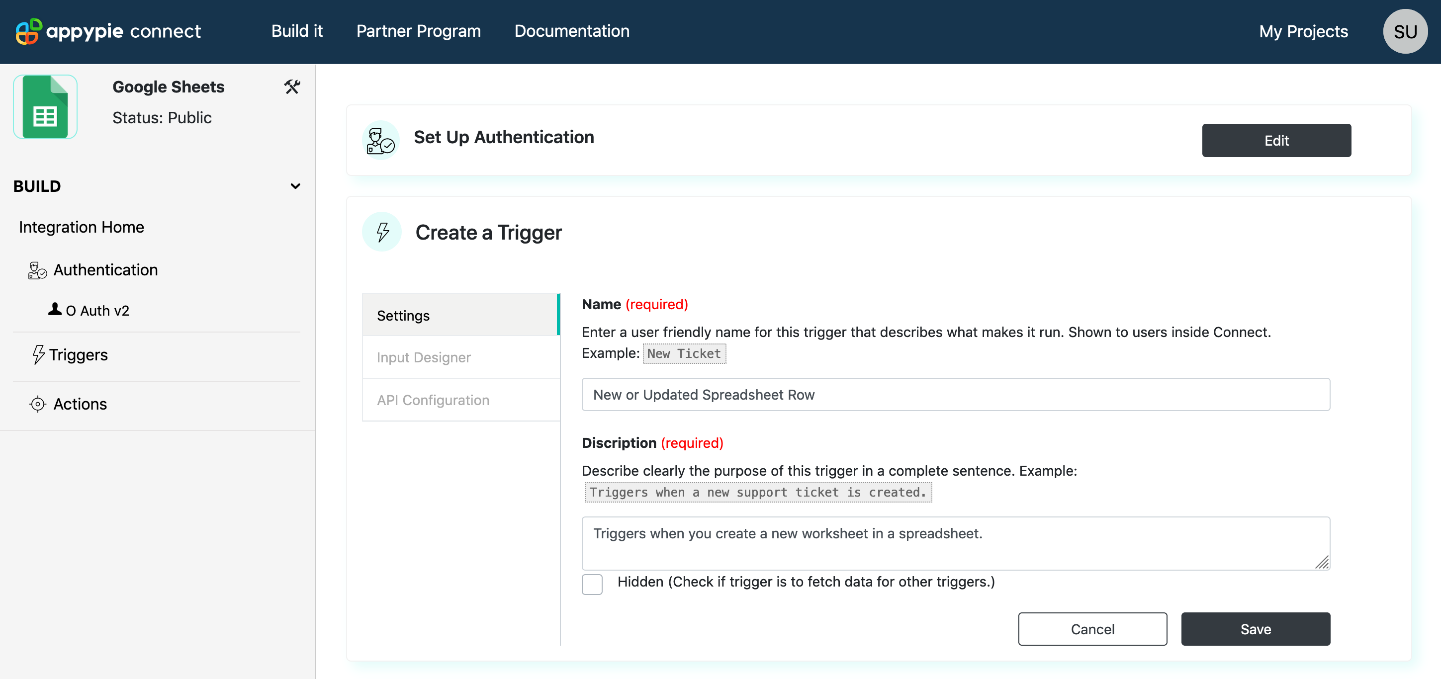 Configure Trigger Settings Appy Pie Connect developer | AUTOMATION