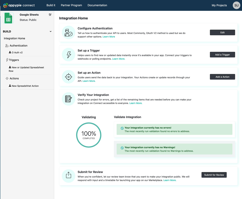 Validate Integration Appy Pie Connect developer | AUTOMATION